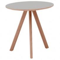TABLE RONDE COPENHAGUE, D.90, Plateau linoléum gris de HAY