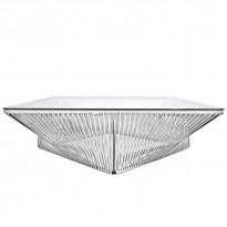Table basse carrée VERACRUZ de Boqa, 110 x 110, Structure noire, Blanc d
