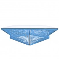 Table basse carrée VERACRUZ de Boqa, 110 x 110, Structure noire, Bleu ciel