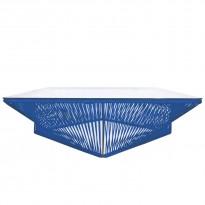 Table basse carrée VERACRUZ de Boqa, 110 x 110, Structure noire, Bleu nuit