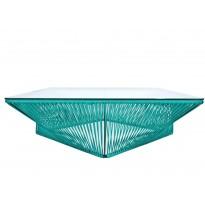 Table basse carrée VERACRUZ de Boqa, 110 x 110, Structure noire, Bleu océan