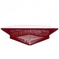 Table basse carrée VERACRUZ de Boqa, 110 x 110, Structure noire, Bordeaux