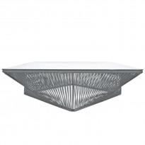 Table basse carrée VERACRUZ de Boqa, 110 x 110, Structure noire, Gris