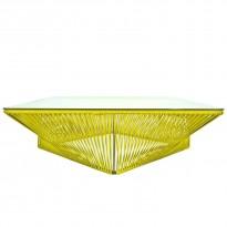 Table basse carrée VERACRUZ de Boqa, 110 x 110, Structure noire, Jaune moutarde