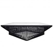 Table basse carrée VERACRUZ de Boqa, 110 x 110, Structure noire, Noir d