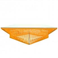 Table basse carrée VERACRUZ de Boqa, 110 x 110, Structure noire, Orange