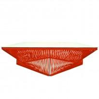 Table basse carrée VERACRUZ de Boqa, 110 x 110, Structure noire, Rouge de Mars