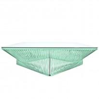 Table basse carrée VERACRUZ de Boqa, 110 x 110, Structure noire, Vert d