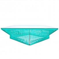 Table basse carrée VERACRUZ de Boqa, 110 x 110, Structure noire, Vert turquoise