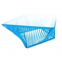 Table basse carrée VERACRUZ de Boqa, 70 x 70, Structure noire, Bleu ciel