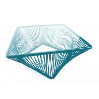 Table basse carrée VERACRUZ de Boqa, 70 x 70, Structure noire, Bleu océan