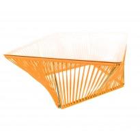 Table basse carrée VERACRUZ de Boqa, 70 x 70, Structure noire, Orange
