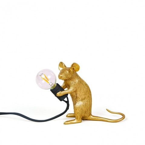 LAMPE A POSER MOUSE LAMP GOLD, Mac de SELETTI
