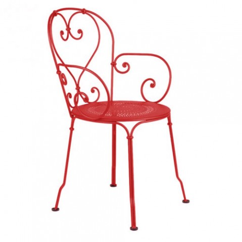 1900 Fauteuil Empilable Design Fermob Coquelicot