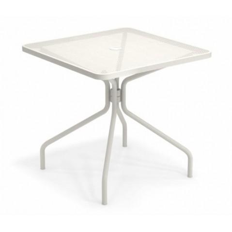 table carree cambi 80 emu blanc mat