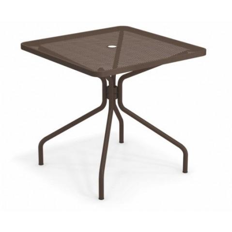 table carree cambi 80 emu marron d'inde