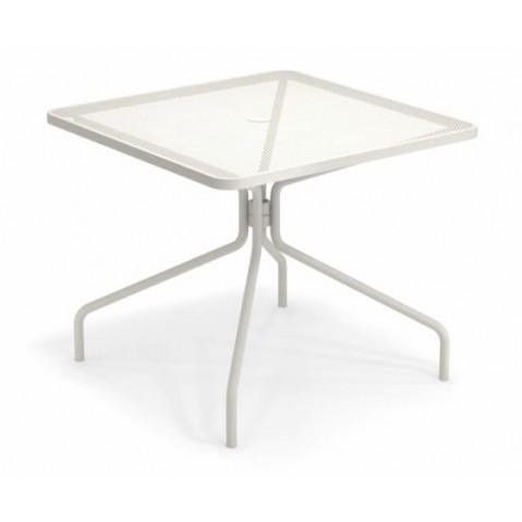 table carree cambi 90 emu blanc mat
