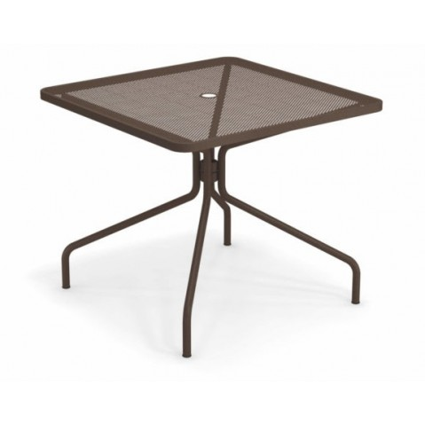 table carree cambi 90 emu marron d'inde