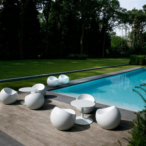 Ball Chair Pouf Design XL Boom Blanc