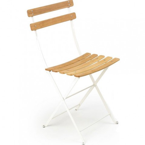 Pack 2 chaises bistro naturel blanc coton hetre naturel for Chaise bistrot fermob