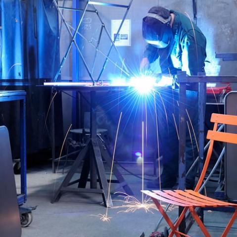 bistro fermob table 57x57 design gris métal