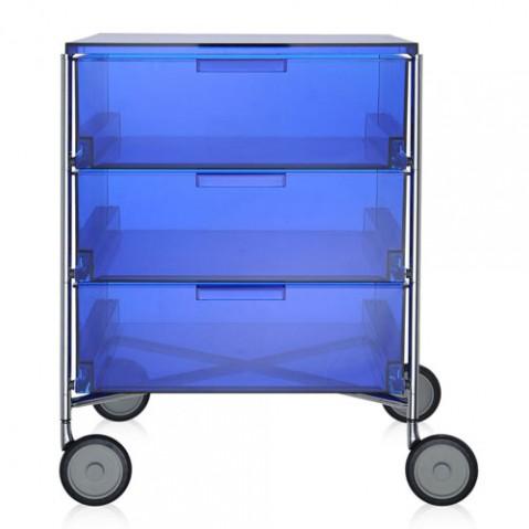 caisson rangement mobil 3 tiroirs kartell bleu transparent