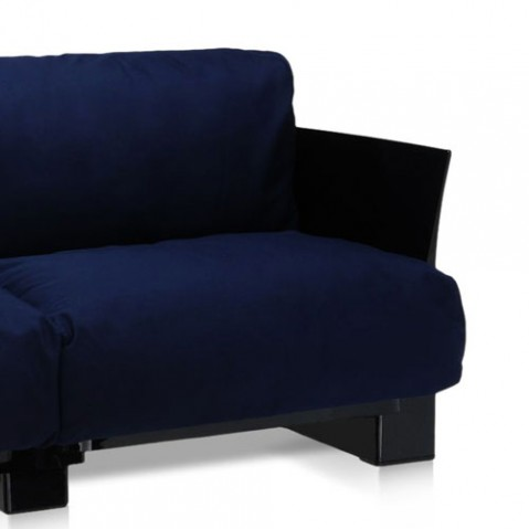 canape pop outdoor 2 places kartell noir sunbrella bleu