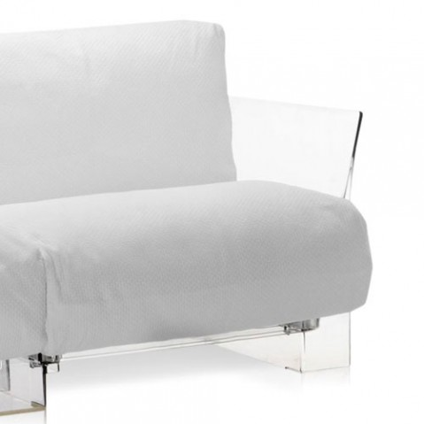 canape pop outdoor 2 places kartell transparent ikon blanc
