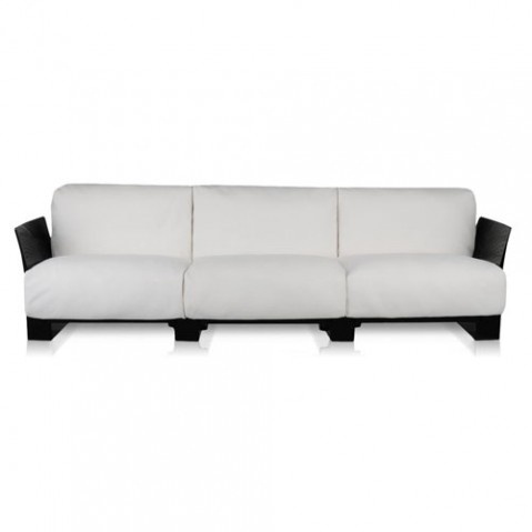 canape pop outdoor 3 places kartell noir ikon blanc