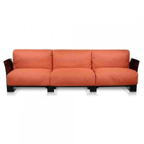 canape pop outdoor 3 places kartell noir ikon orange