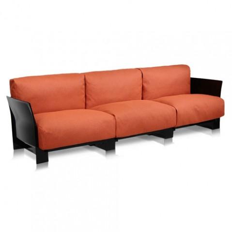 canape pop outdoor 3 places kartell noir ikon orange