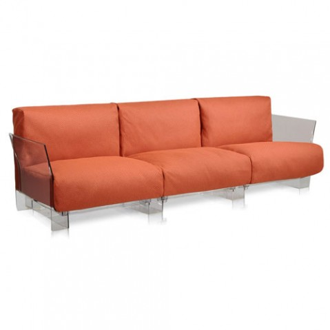 canape pop outdoor 3 places kartell transparent ikon orange