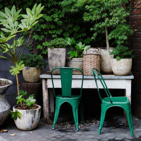 chaise jardin a inox tolix ivoire