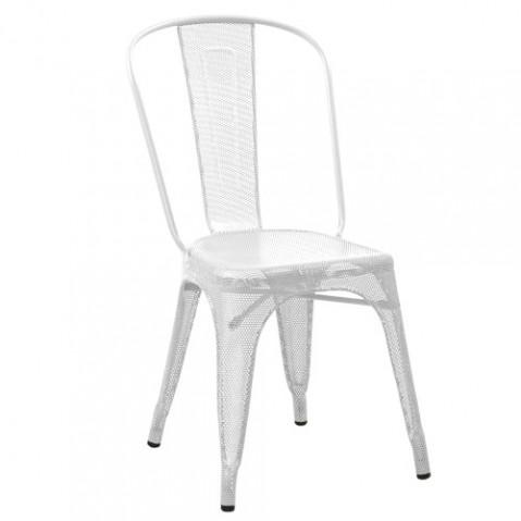 Chaise AA Tolix perforée blanc
