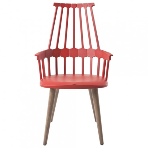 chaise quatre pieds comback kartell rouge orange