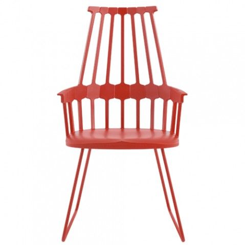 chaise tubulaire comback kartell rouge orange