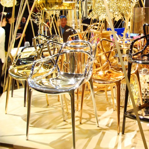 chaise masters metallisee kartell cuivre