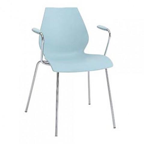 chaise accoudoirs maui kartell bleu clair