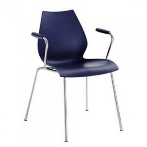 chaise accoudoirs maui kartell bleu marine