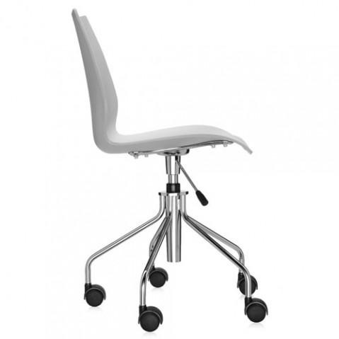 chaise roulettes maui kartell gris clair