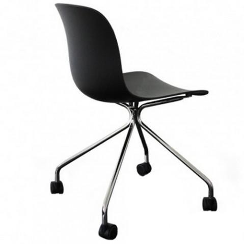 chaise troy roulettes magis chrome noir