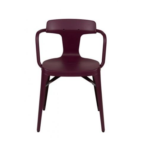 Chaise T14 de Tolix acier Mat, Aubergine