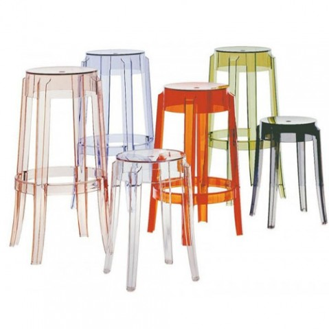 Charles Ghost Tabouret H 65 Design Kartell Transparent