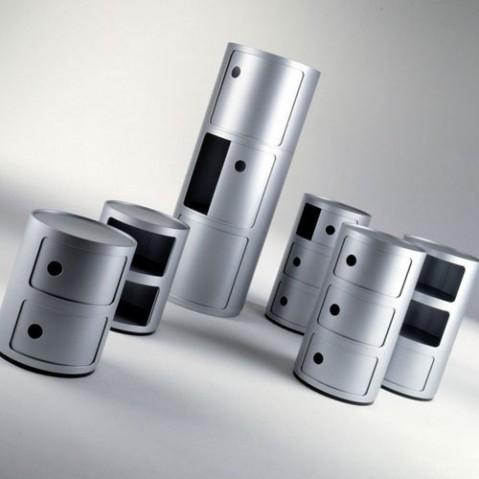 Componibili Meuble de Rangement 2 Elements Design Kartell Argent