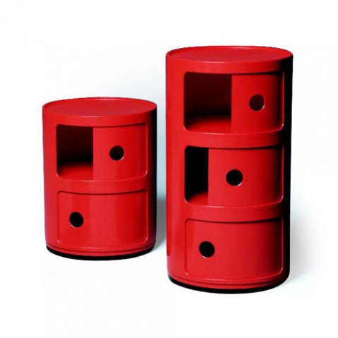 Componibili Meuble de Rangement 2 Elements Design Kartell Rouge