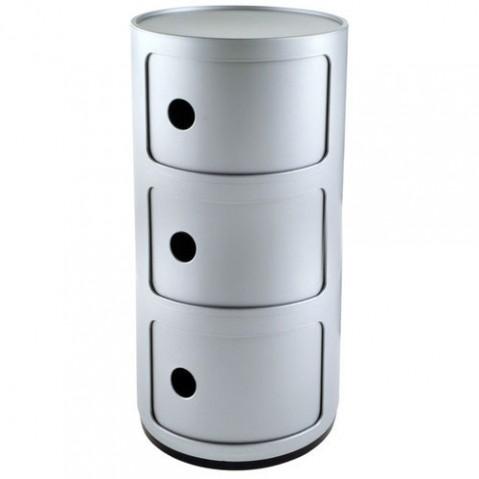 Componibili Meuble de Rangement 3 Elements Design Kartell Argent