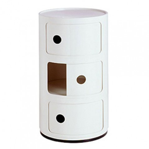 Componibili Meuble de Rangement 3 Elements Design Kartell Blanc