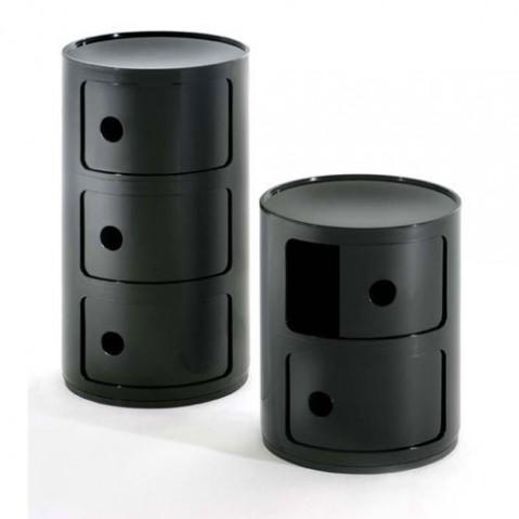 Componibili Meuble de Rangement 3 Elements Design Kartell Noir