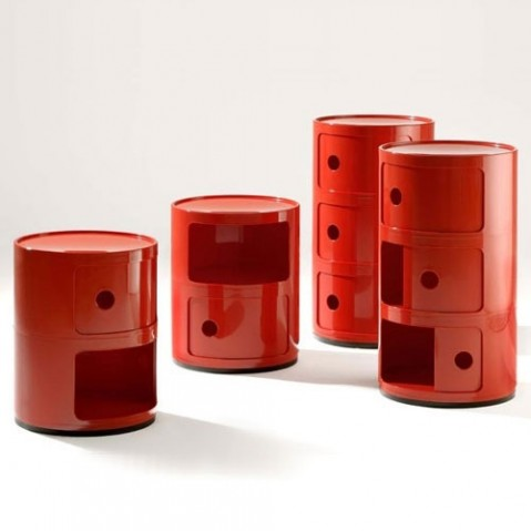 Componibili Meuble de Rangement 3 Elements Design Kartell Rouge