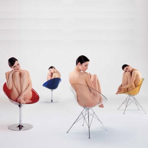 Eros Fauteuil 4 Pieds Design KArtell Rouge Orange